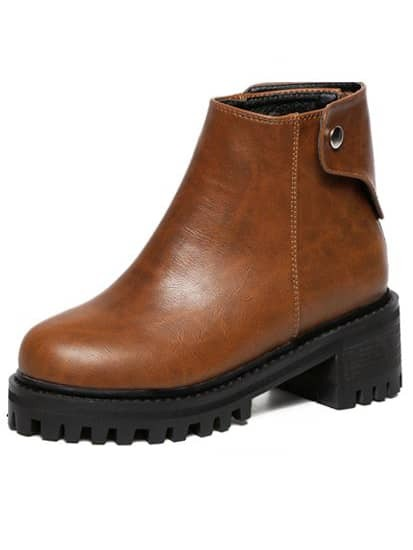 dcb3965981a Brown Chunky Heel Thick-soled Boots