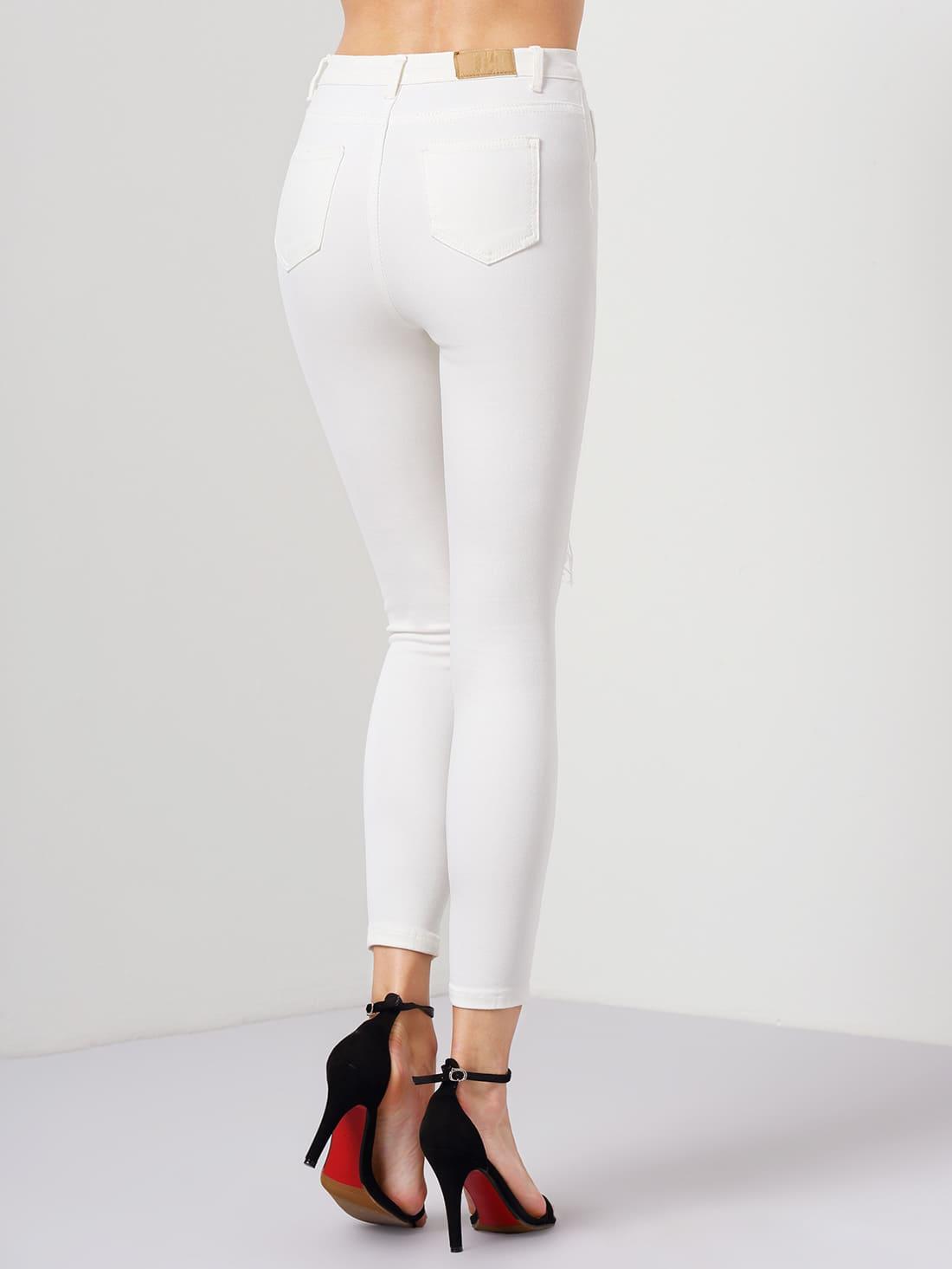 pantalon en denim slim effet d chir blanc french shein sheinside. Black Bedroom Furniture Sets. Home Design Ideas