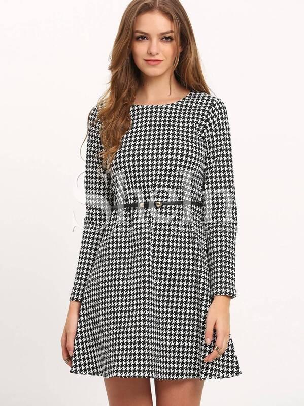 44daec2a6ec Houndstooth Long Sleeve Dress