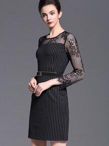 622305985c Cheap Black Round Neck Long Sleeve Lace Drawstring Dress for sale Australia    SHEIN