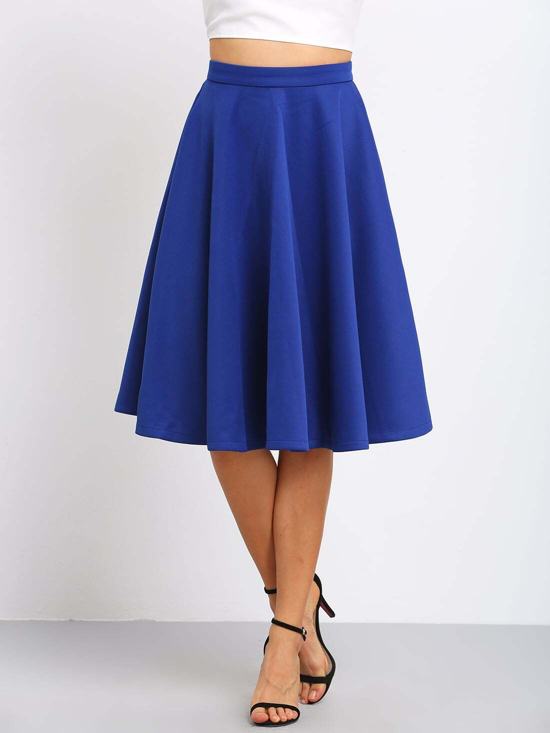 jupe longue vas e taille haute bleu french shein sheinside. Black Bedroom Furniture Sets. Home Design Ideas