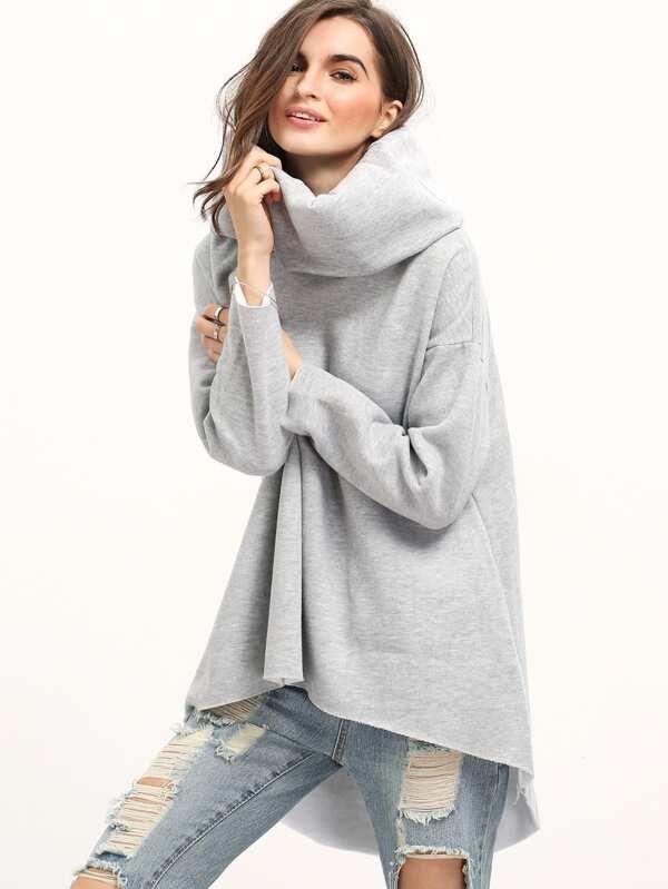 Sweat-shirt décontracté manches longues col roulé -gris-French  SheIn(Sheinside)