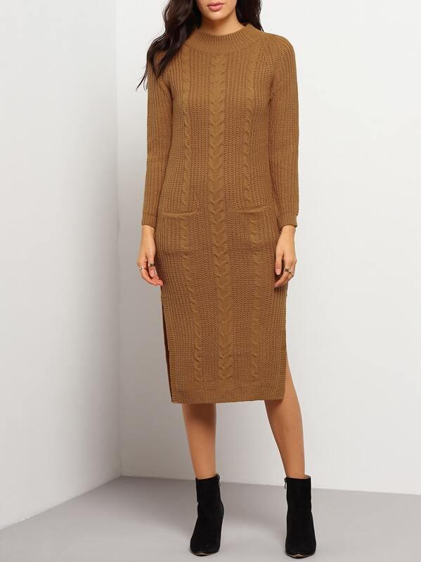 3aca36f069 Khaki Long Sleeve Split Side Pockets Cable Knit Sweater Dress   SHEIN