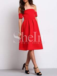 102e25fd38 Red Short Sleeve Off The Shoulder Dress   SHEIN IN