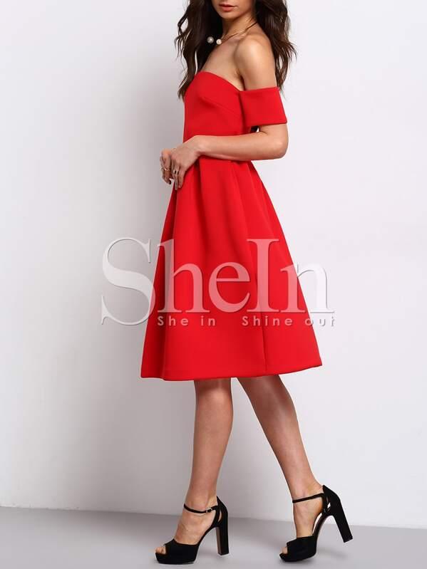 0db04853b2 Red Short Sleeve Off The Shoulder Dress   SHEIN