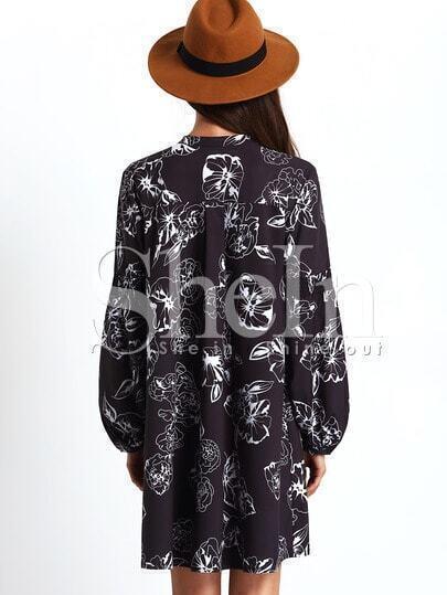 Black Long Sleeve Vintage Print Dress -SheIn(Sheinside)