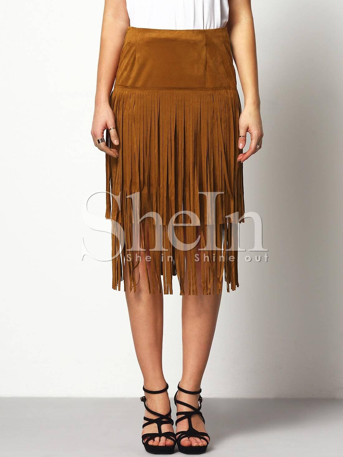 brown high waisted tassel skirt shein sheinside