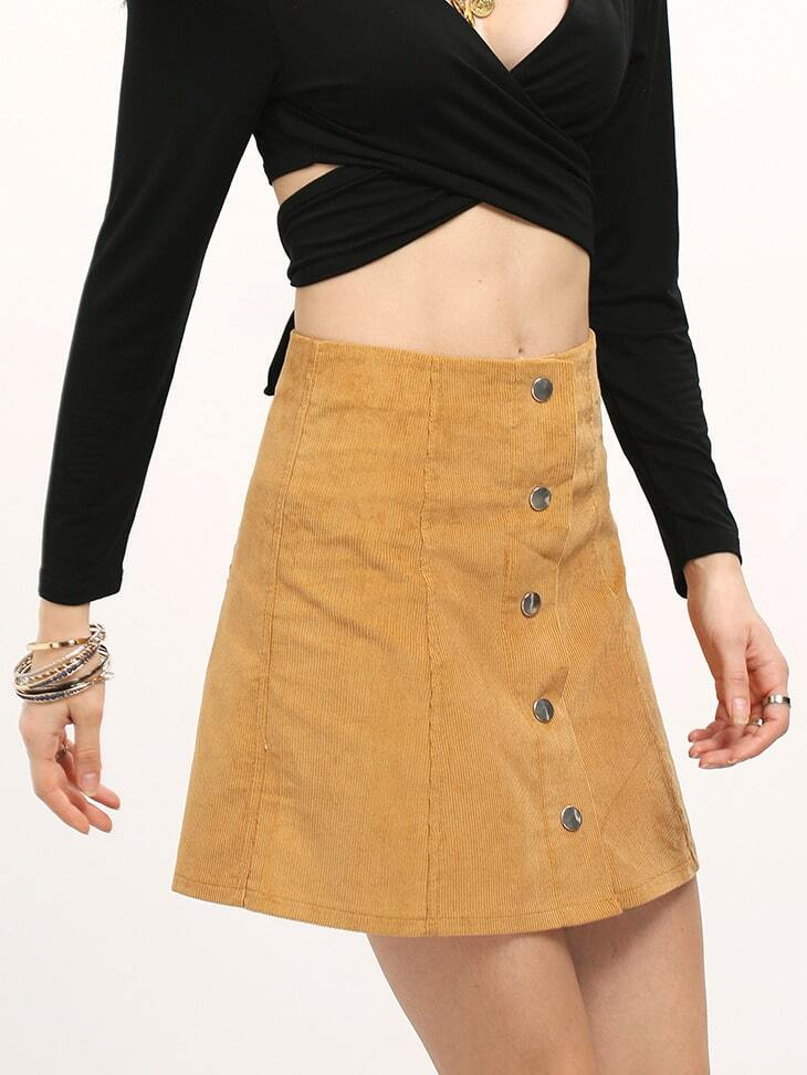 khaki button front a line skirt shein sheinside