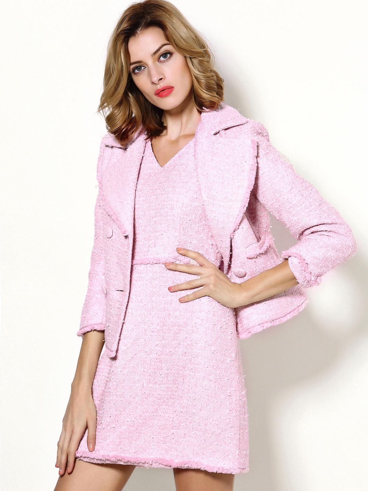zweiteiliges kleid mit v ausschnitt rosa german shein sheinside. Black Bedroom Furniture Sets. Home Design Ideas