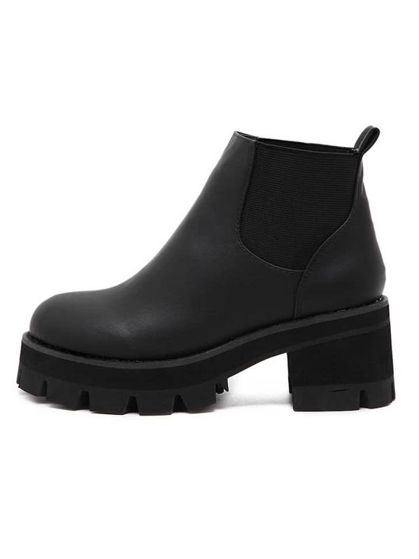 d918ad0a9a Black Chunky Block Heel Velvet Elastic Ankle Boots   SHEIN UK