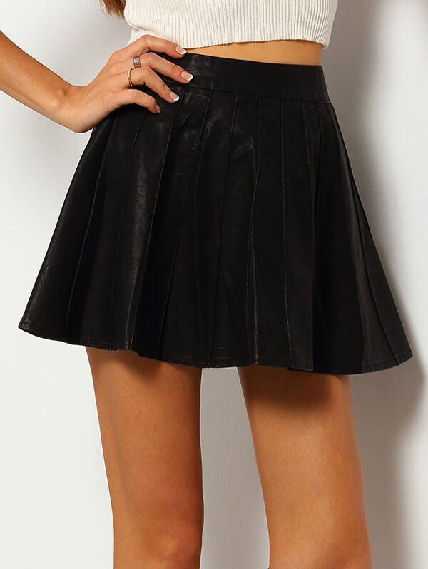 44685d5014 Black PU Leather Pleated A Line Skirt | SHEIN