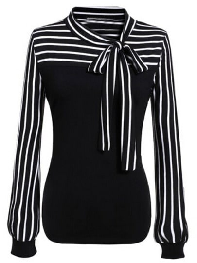 Tie-neck Striped Blouse
