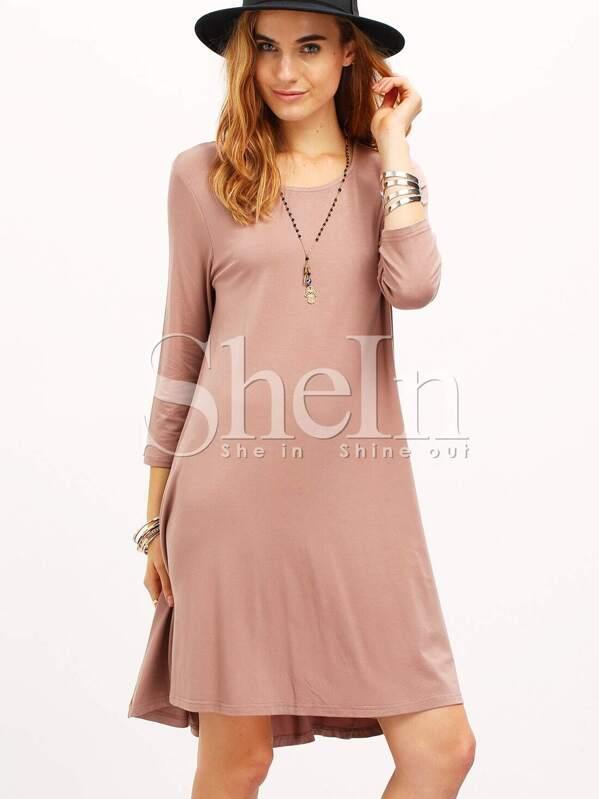 c4e9d17d6b2e Pink Plain Knee Length T-shirt Dress