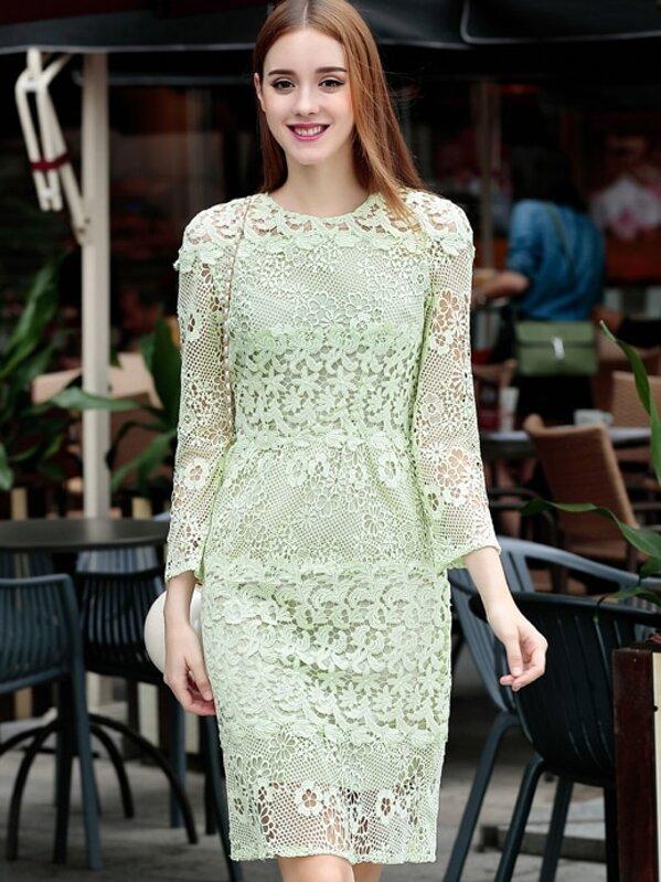 34c186370 فستان مطوي دانتيل أخضر كم طويل | شي إن