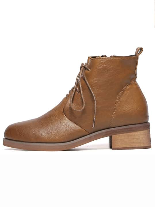 light brown lace up chunky heel ankle boots shein sheinside