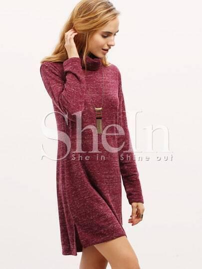 Burgundy Turtleneck T-shirt Dress -SheIn(Sheinside)