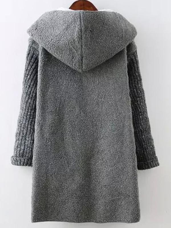 1f60b837ae Grey Hooded Long Sleeve Pockets Loose Coat | SHEIN