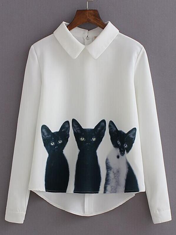 a61a57a4210 Blusa solapa manga larga gatos -blanco