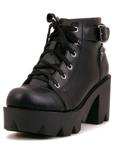 5071fed443d Black Chunky Heel Lace Up Ankle Boots