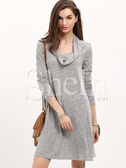 Grey Cowl Neck Shift Dress pictures