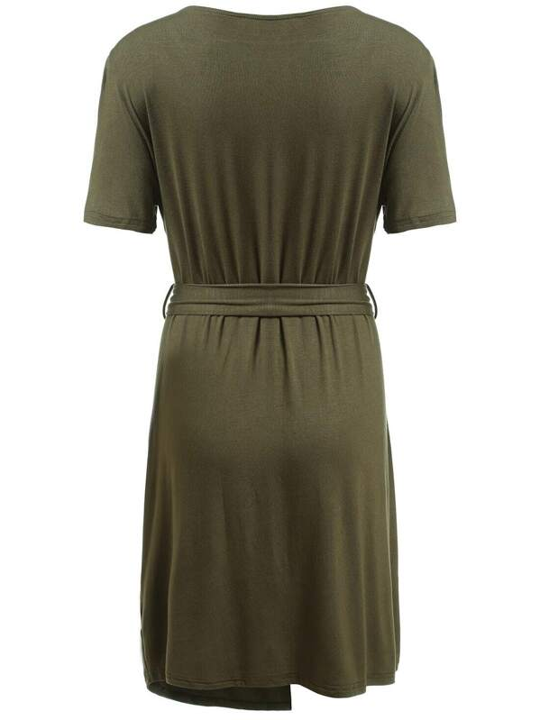 Army Green Deep Plunge Neck Self-Tie Wrap Plus Dress