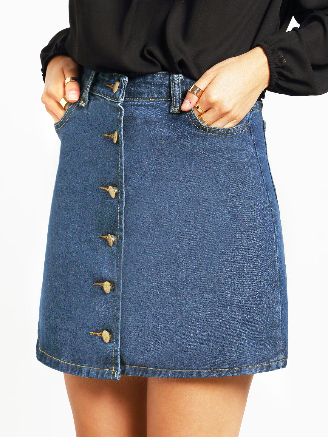 blue a line denim skirt with single breasted shein sheinside