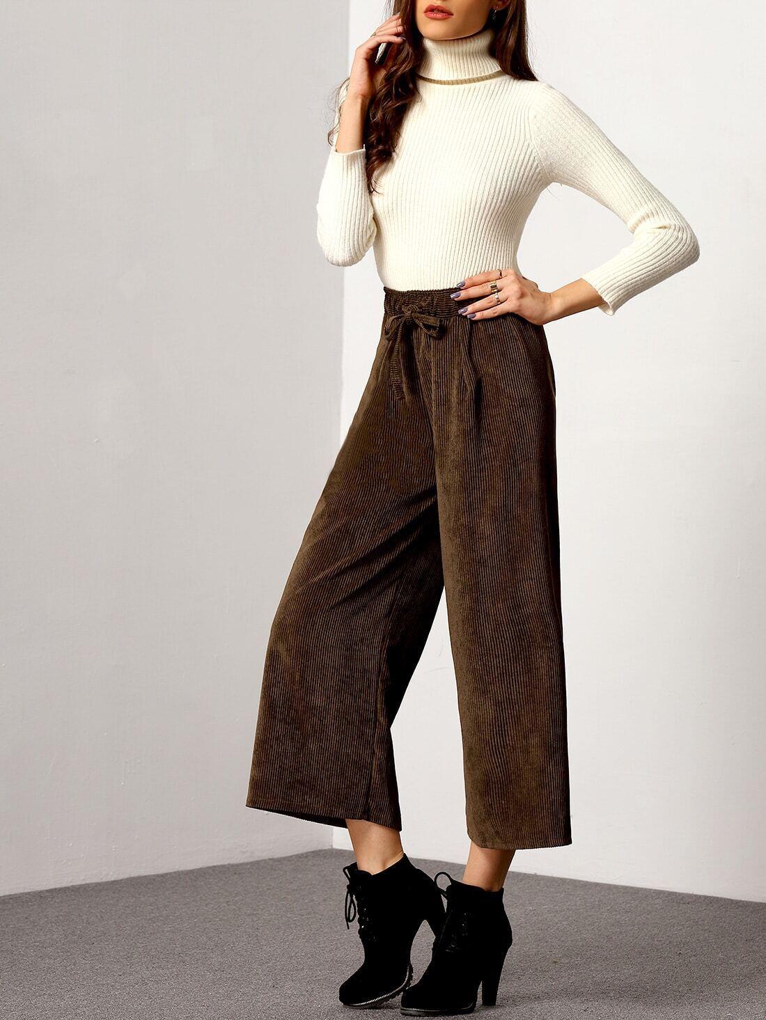 pantalon en velours c tel taille lastique marron. Black Bedroom Furniture Sets. Home Design Ideas