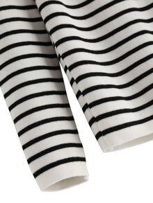 b4d1526f133de9 Cheap White Black Mock Neck Striped Knitwear for sale Australia   SHEIN