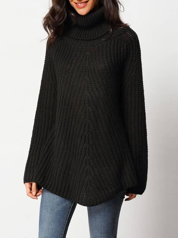 Jersey manga larga grueso negro