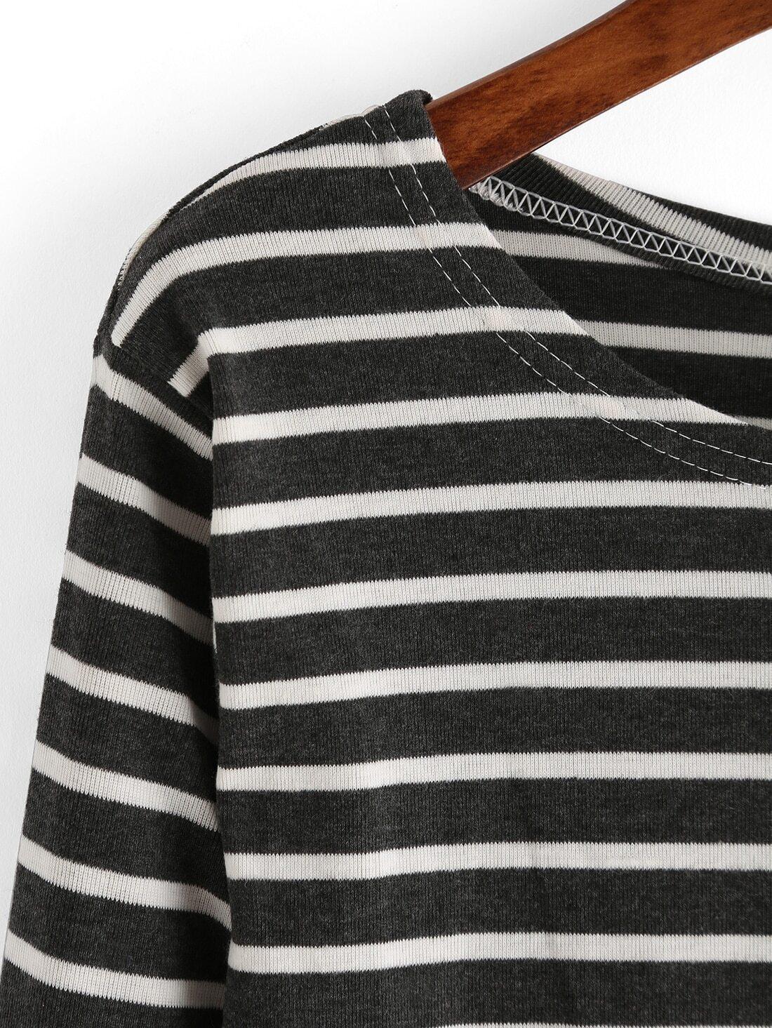 Grey white elbow patch striped t shirt shein sheinside Grey striped t shirt