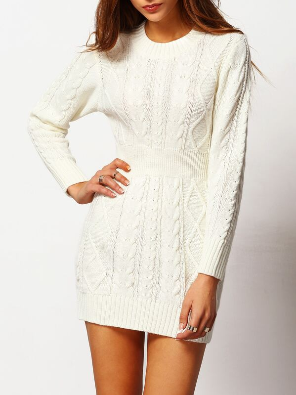 1cf12394ff White Crew Neck Cable-knit Bodycon Sweater Dress
