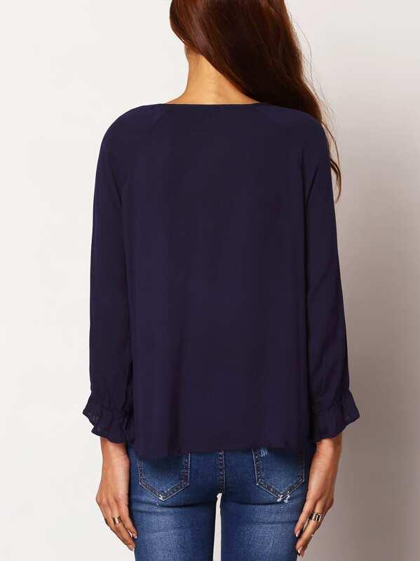 e46106ad1c0 Тёмно-синяя блуза свободного кроя с этническим принтом