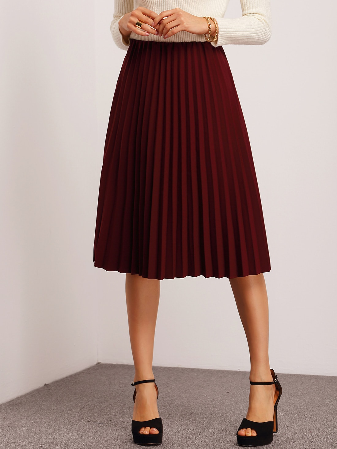 28b830b587a22c Cheap Burgundy Pleated Midi Skirt for sale Australia | SHEIN