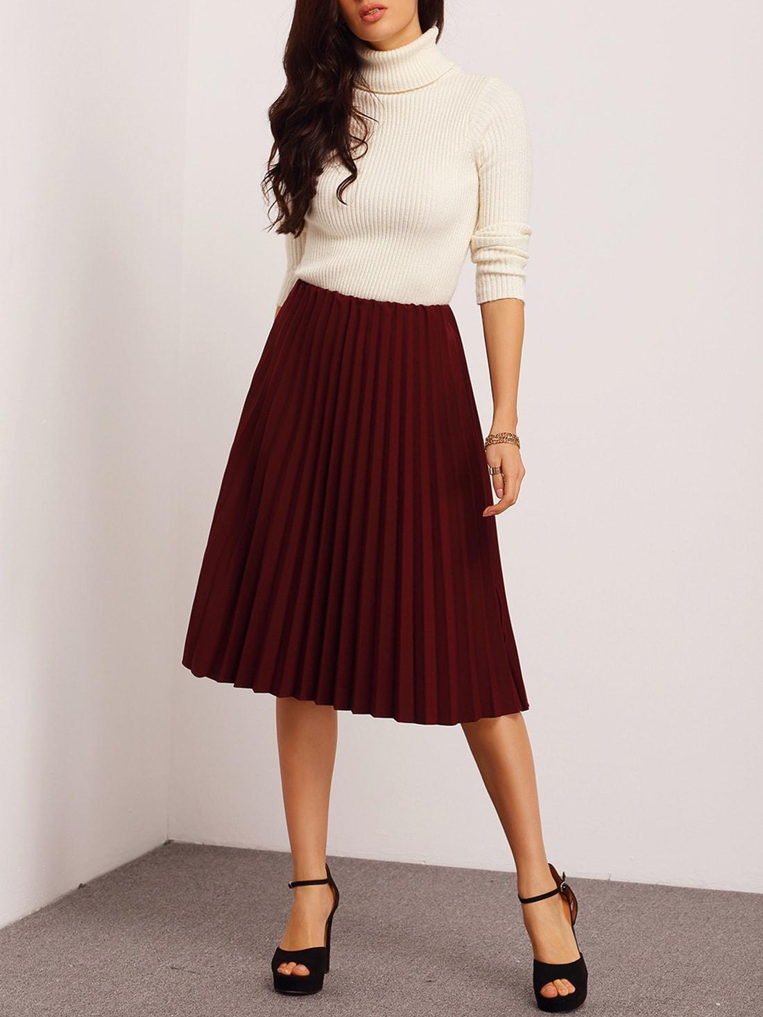 burgundy pleated midi skirt shein sheinside