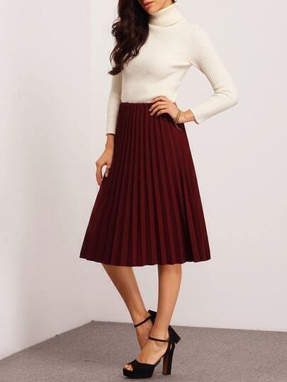 Burgundy Pleated Midi Skirt -SheIn(Sheinside)