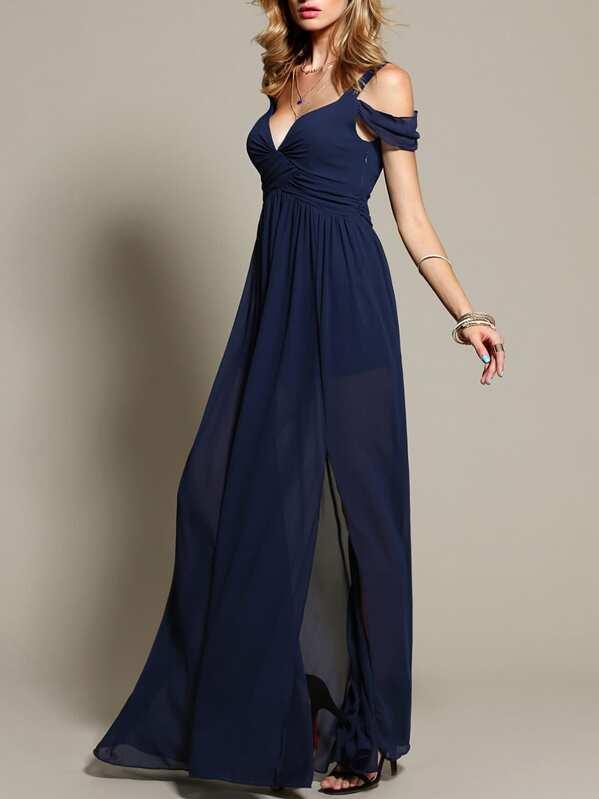 60% barato original de costura caliente nuevos productos para Vestido largo hombros al aire - azul marino