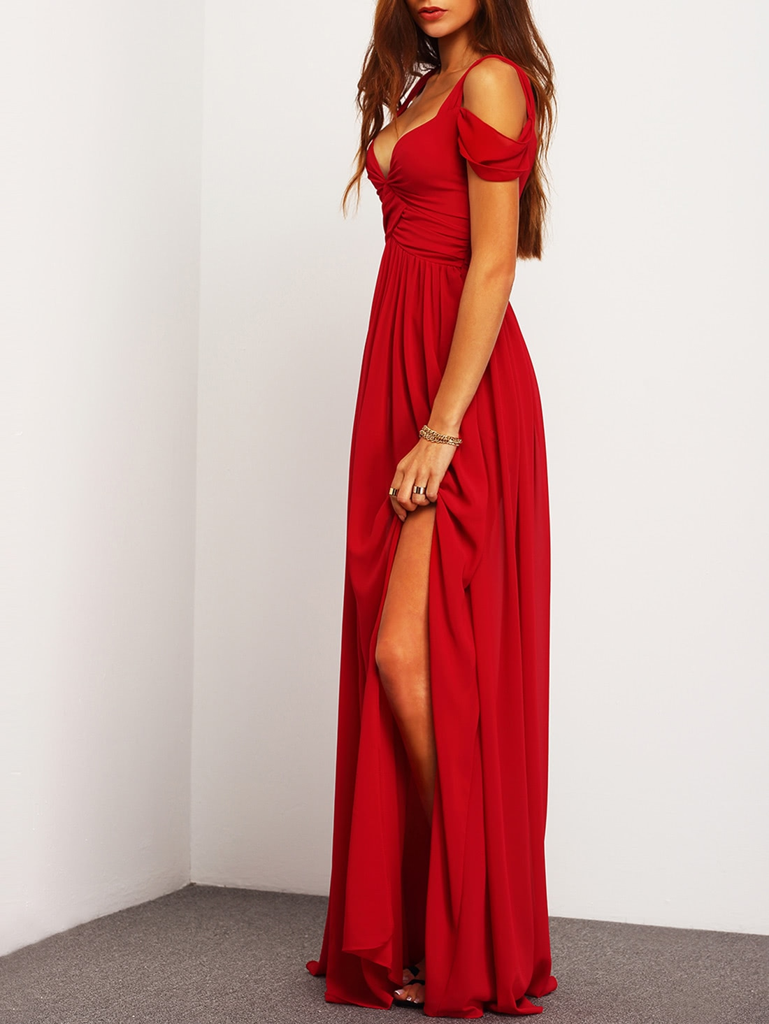 Off the shoulder red maxi dress
