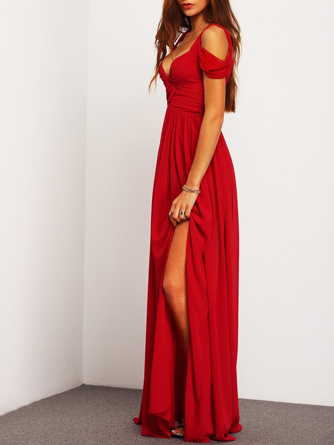 Off the shoulder red maxi dress