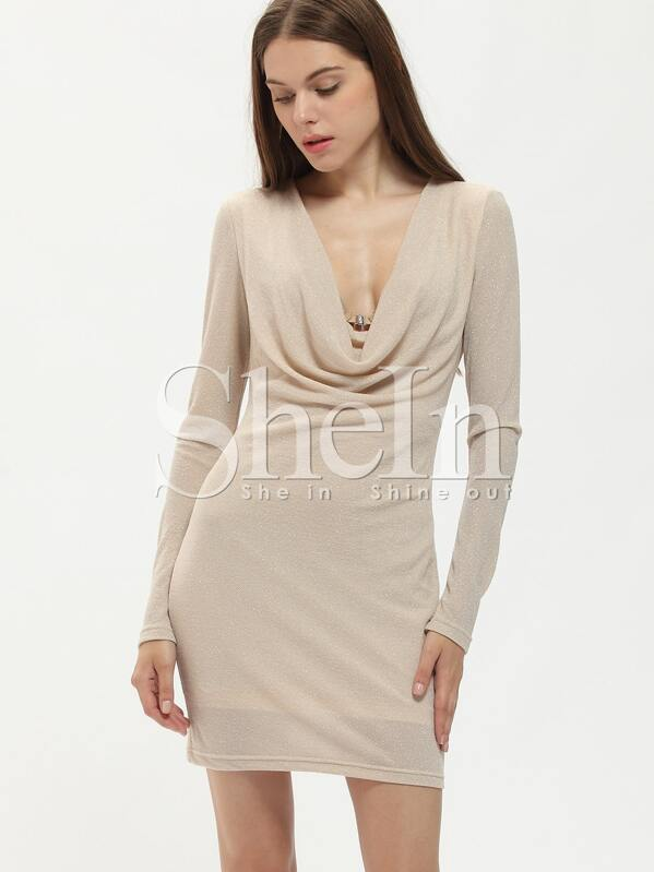d243275c Apricot Cowl Neck Bodycon Dress   SHEIN UK