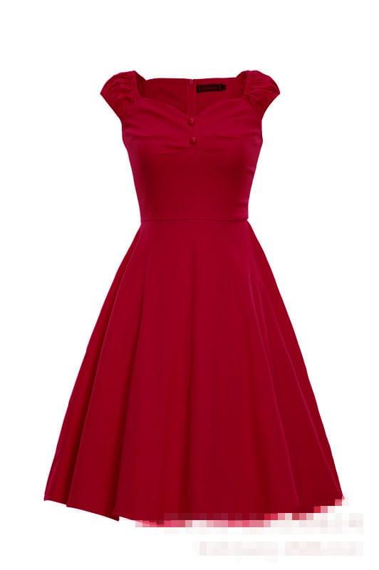 Red Heart Shape Collar Polka Dot Flare Dress Shein Sheinside