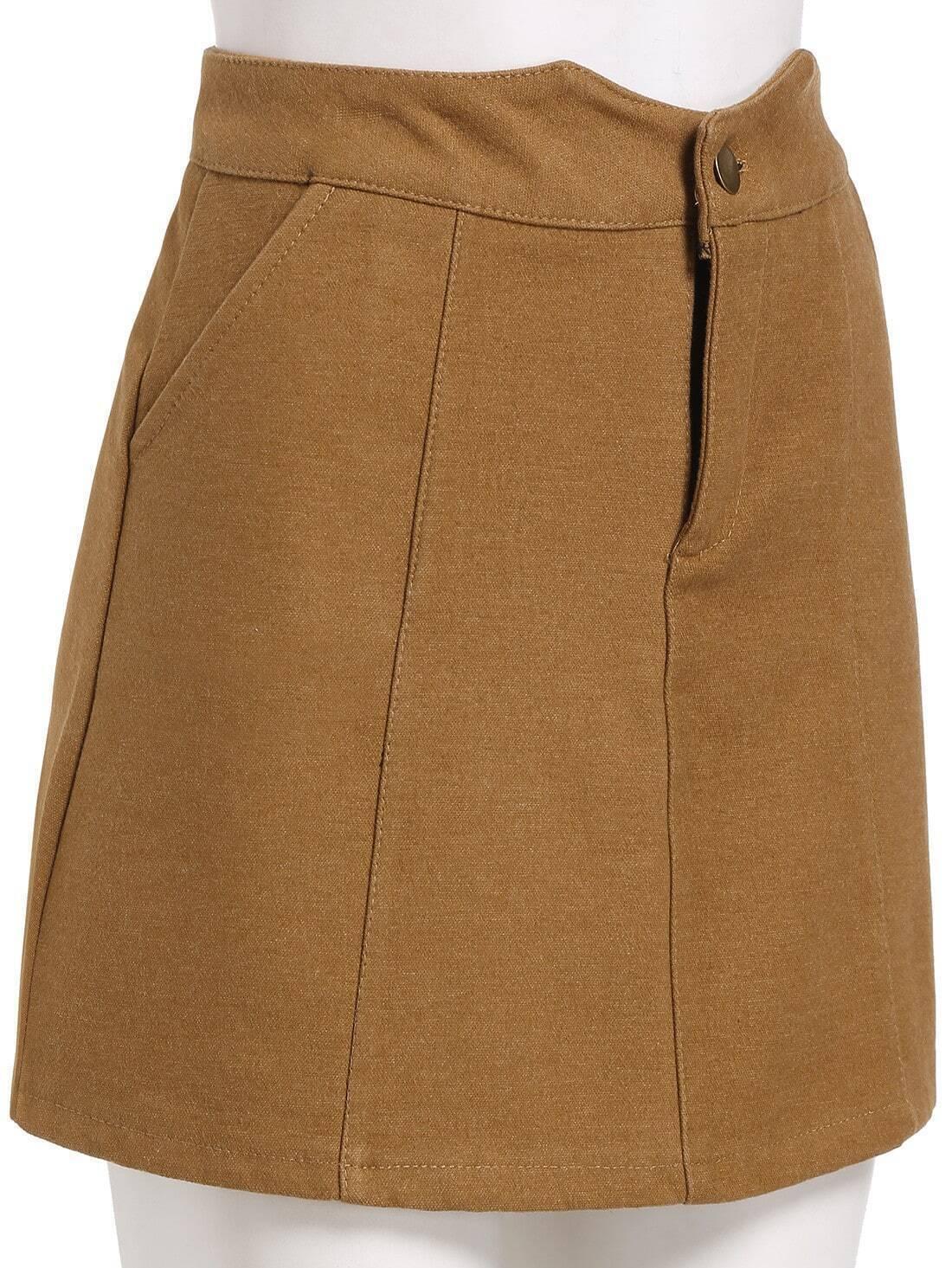 khaki pockets a line skirt shein sheinside
