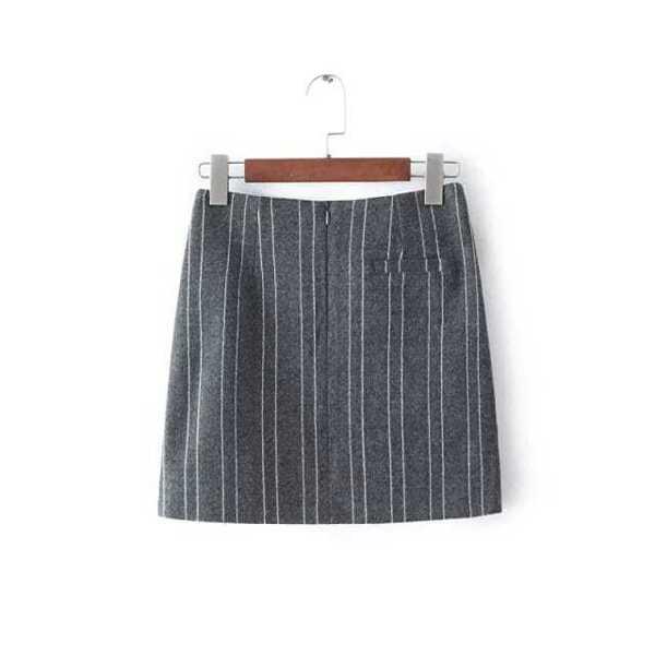 ca2216968 Falda rayas verticales bolsillos -gris-Spanish SheIn(Sheinside)