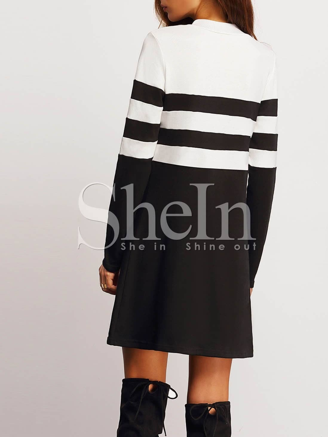Black Color Block Shift Dress
