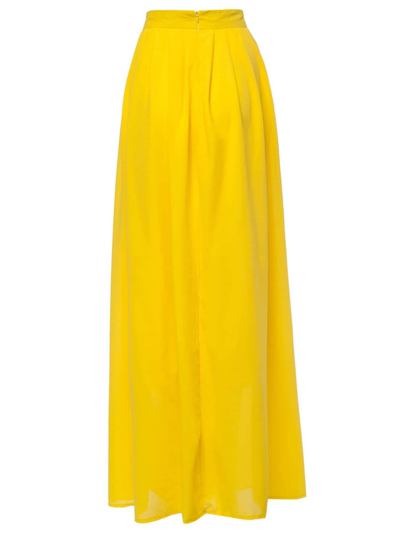 yellow high waist maxi skirt shein sheinside