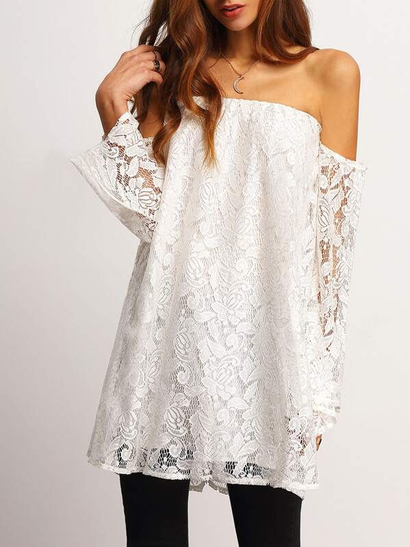 d2943fa8415 White Off the Shoulder Lace Blouse | SHEIN