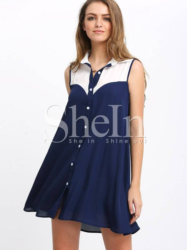 Navy Color Block Sleeveless Shirt Dress -SHEIN(SHEINSIDE) 8e1ba05ae31