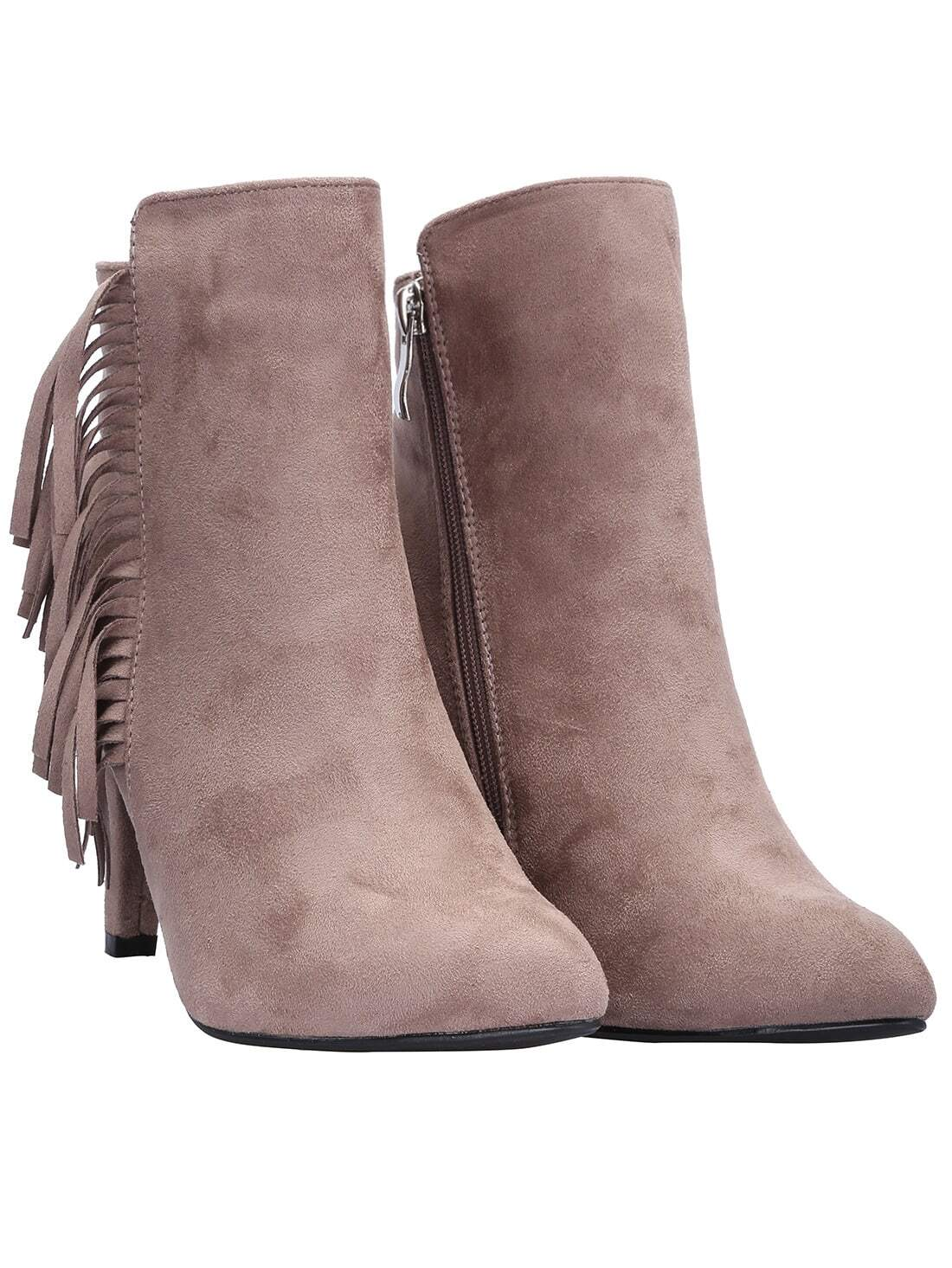 light brown high heel tassel boots shein sheinside