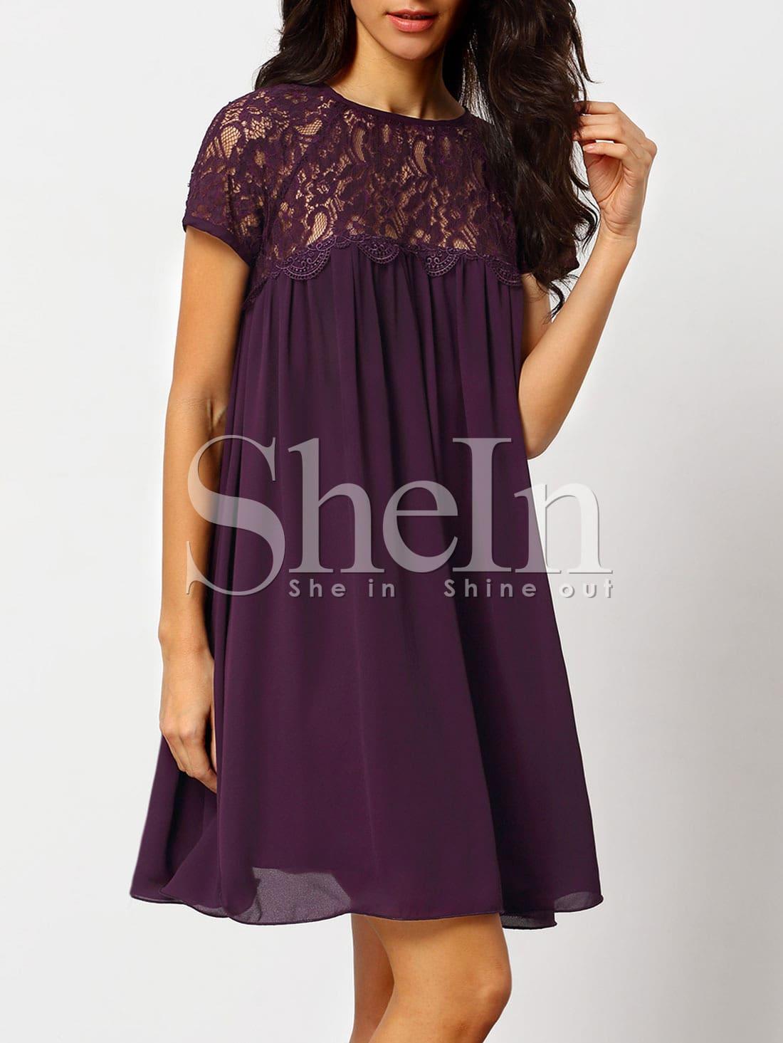 8289f3d7867 Purple Crew Neck With Lace Shift Dress