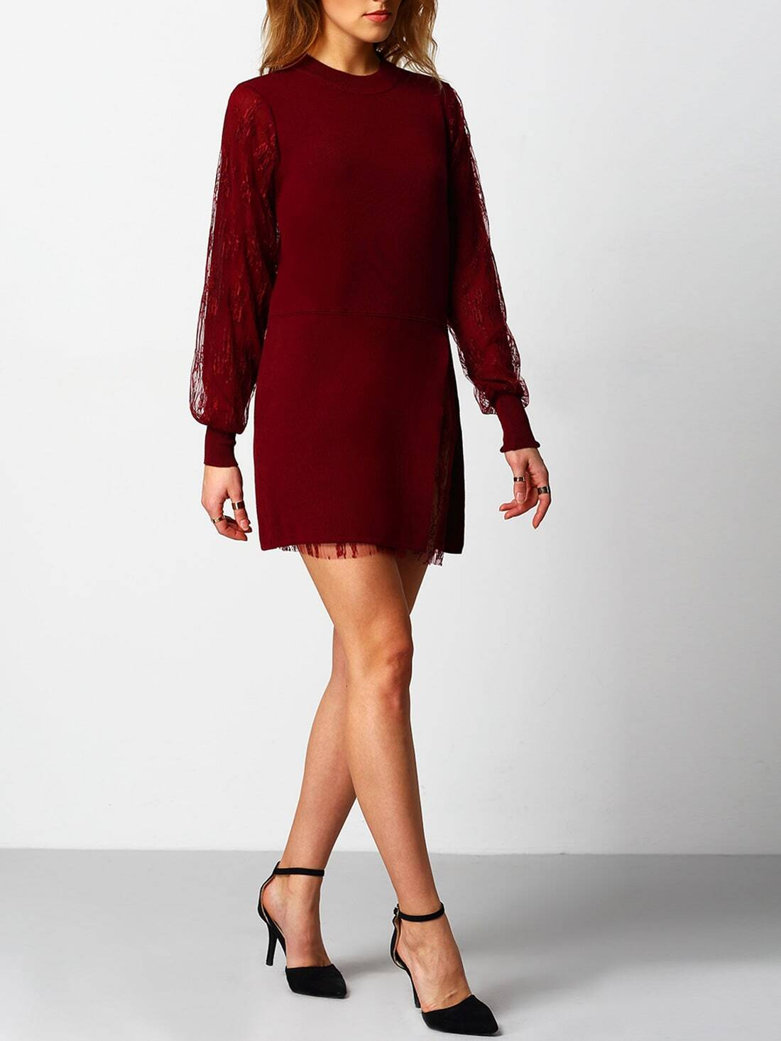 Red Crew Neck Lace Sweater Dress -SheIn(Sheinside)