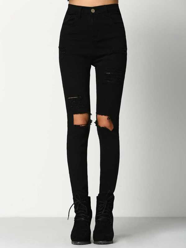 f47e4fee8b Cut Out Knee Ripped Jeans